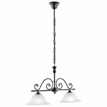 Пендел-висяща лампа 2xE27 черно/алабастър MURCIA
