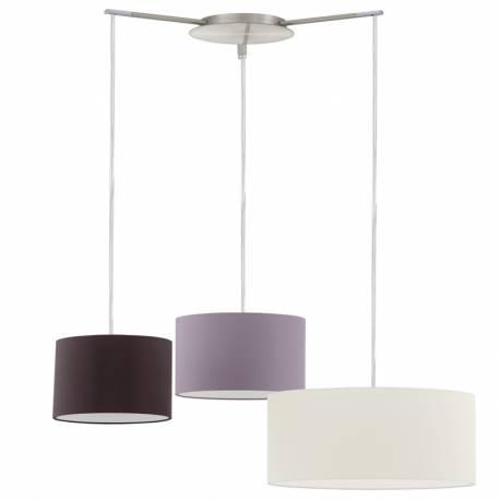 Пендел-висяща лампа 3хЕ27 никел-мат/крем/сиво-кафяво/кафяво TOMBOLO