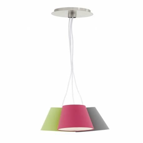 Пендел-висяща лампа 3хE14 никел-мат/сиво/розово NEVORRES