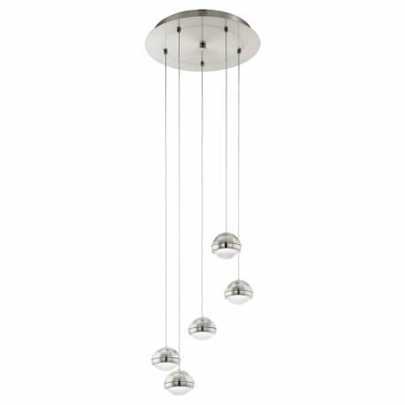 Пендел-висяща лампа LED 5х4,5W 2400lm никел-мат/прозр. LOMBES