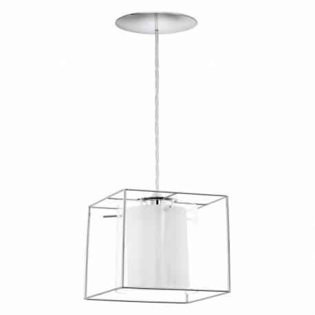 Пендел-висяща лампа 1хE27 хром/прозр.-бяло LONCINO 1