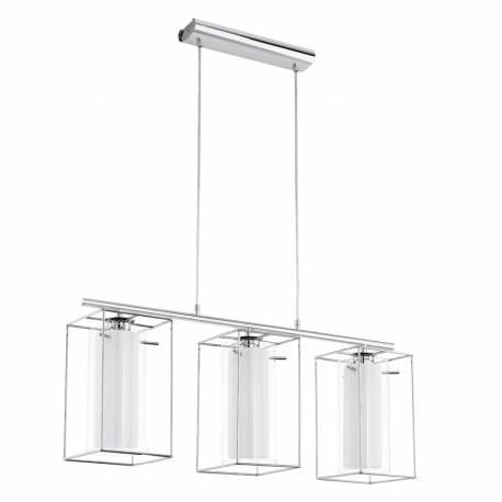 Пендел-висяща лампа 3хE27 хром/прозр.-бяло LONCINO 1