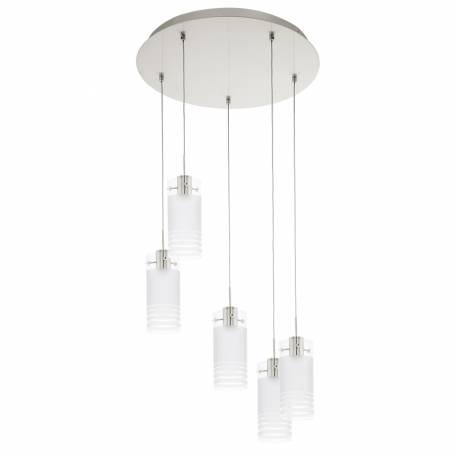 Пендел-висяща лампа LED 5х6W 3000lm никел-мат/сат.-прозр. MELEGRO