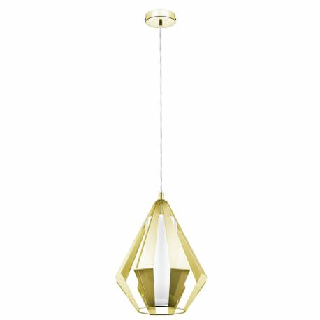Пендел-висяща лампа 1хE27пирамид.месинг/бяло TAROCA