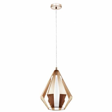 Пендел-висяща лампа 1 E27 пирамид.мед/бяло TAROCA