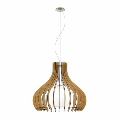 Пендел-висяща лампа 1хE27 Ø600 явор/никел-мат сфер.ст TINDORI