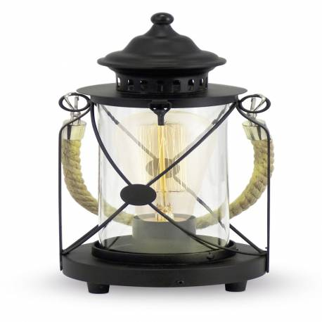 Настолна лампа E27, газ.фенер черен, черен кабел, Ø140 Н305 BRADFORD