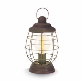 Настолна лампа E27, реш заоб.каф.-патина, дърво чер.кабел, Ø175 Н320 BAMPTON