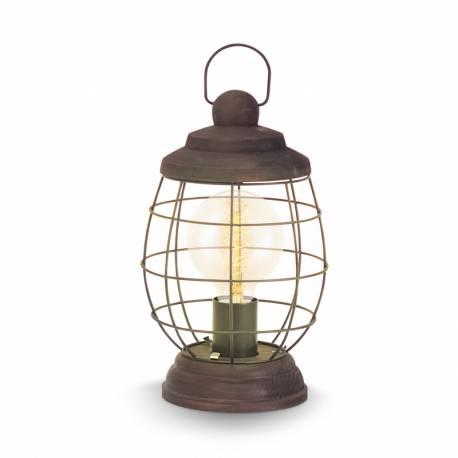 Настолна лампа E27, реш заоб.каф.-патиНастолна лампа,дърво чер.кабел, Ø175 Н320 BAMPTON