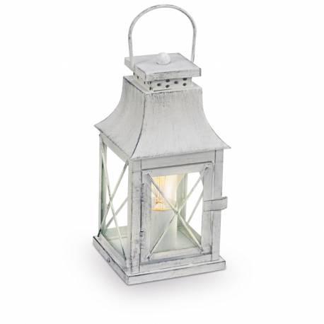 Настолна лампа E27, фенер кв.сива патиНастолна лампа, бял кабел, Н280, 125х125