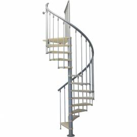 Вита стълба с 12 стъпала, метал-сив и дърво-бреза