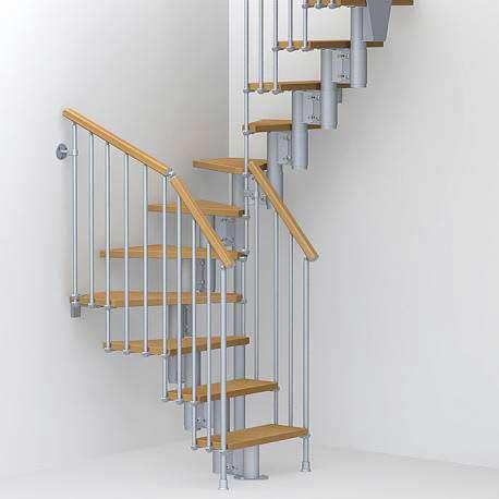 Вита стълба с 12 стъпала, метал-сив и дърво-цвят-круша
