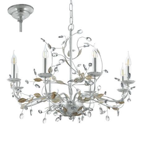Пендел-висяща лампа 8хE14 сребро с кристали FLITWICK 1