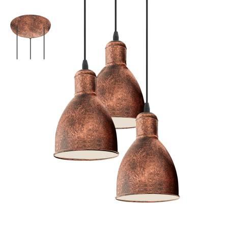 Пендел-висяща лампа 3хE27 мед-антик PRIDDY 1