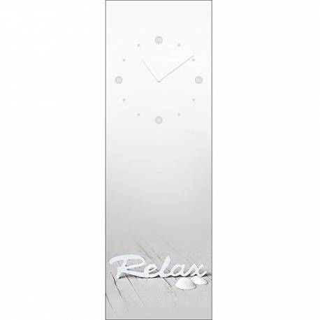 Стенен часовник правоъгълен, стъклен, 20x60 см