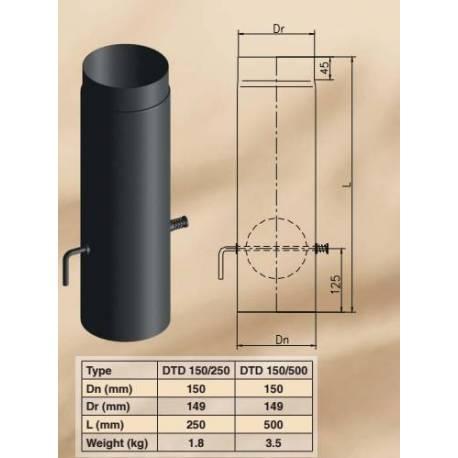 Димоoтводна тръба - права, с клапа DTD 150/500