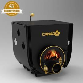 Печка на дърва Canada 00 - със стъкло и защита, за отопление и готвене - до 130 куб.м
