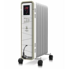Маслен радиатор 1500 W, бял, 8 ребра -  64x43x26 см,