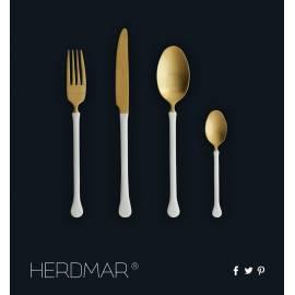 """Imagén: Комплект прибори за хранене """"KIEV""""- 24 части - златно PVD покритие, с бяла дръжка - HERDMAR"""