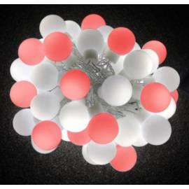 Коледна Led външна верига 7.5 м, 25 бели и 25 червени диода, бели червени топчета