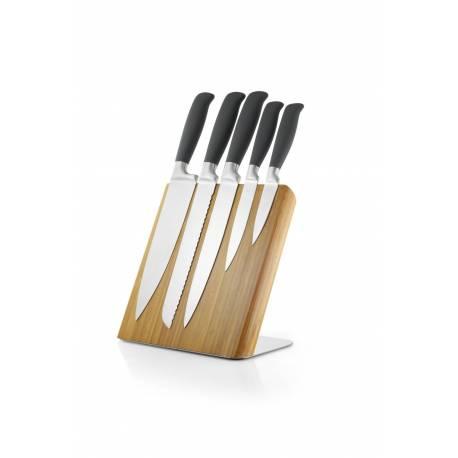 Комплект бамбуков магнитен блок с 5 ножа
