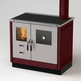 Готварска печка на твърдо гориво с водна риза Thermo AS - 21 kW, суха, цвят бордо