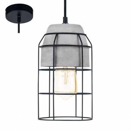 Пендел - висяща лампа 1хE27 Ø140 черно/бетон CONSETT
