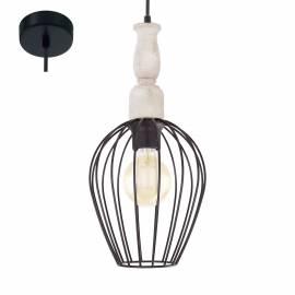 Imagén: Пендел - висяща лампа 1хE27 Ø180 черно/дърво  NORHAM