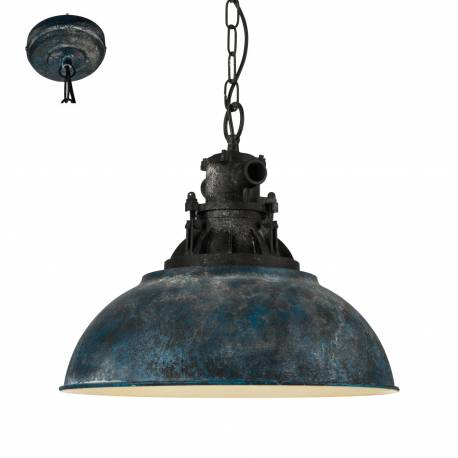 Пендел - висяща лампа 1хE27 Ø370 Р синьо-антик/черно GRANTHAM 1