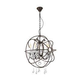 Imagén: Пендел - висяща лампа 8хE14 кафяво-антик/кристал  WEST FENTON