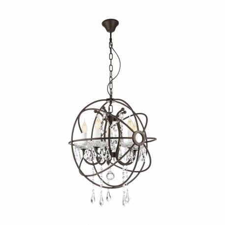Пендел - висяща лампа 8хE14 кафяво-антик/кристал WEST FENTON