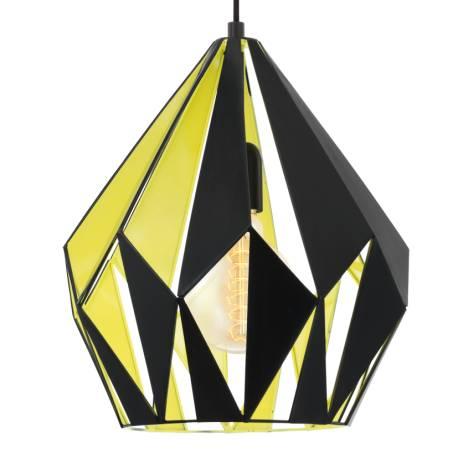 Пендел - висяща лампа E27,черно, неоново жълто отв.,черно текст. кабел,Ø310 Н380