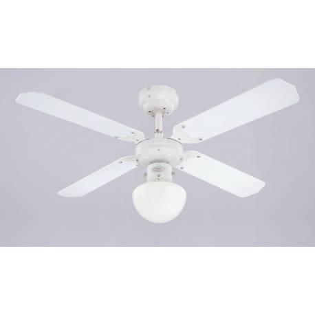Вентилатор - 4 перки, осветително тяло Опал, бял