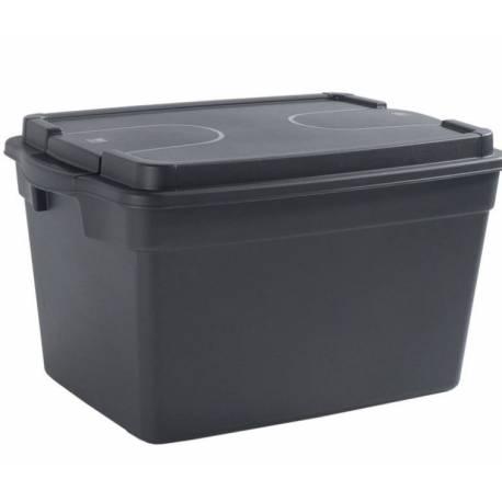 Кутия за съхранение с колелца 56.7 л - 57.5х39х39 см, черна