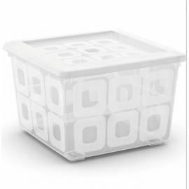 Кутия за съхранение - квадратна с колелца, 39x39x27 см, прозрачна