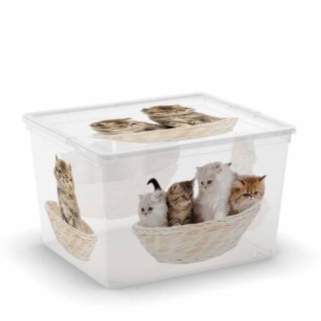 Кутия за съхранение - с декор кучета и котки, 40x34x25 см,