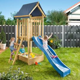Детска кула за игра с пързалка, 177 x 120 x 302 см