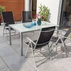 Градинска маса със стъклен плот, 150x90 см