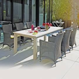 Дървена градинска маса от евкалиптово дърво, сива - 200 x 100 см