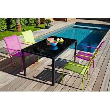 Градинска маса със стъклен плот, черна - 150х90х74 см