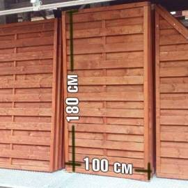 Дървена ограда - кафява - 100 x 180 см