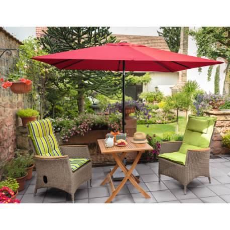 Градински чадър - 200x250 см, червен, с манивела