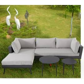 Ратанова гарнитура - ъглов диван, две кръгли маси