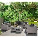 Imagén: Градински ратанов комплект - канапе тройка, два фотьойла и маса