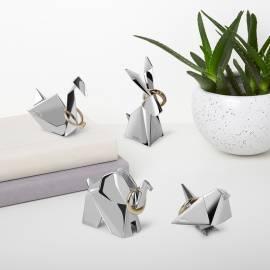 """Поставка за пръстени """"ORIGAMI ELEPHANT"""" - слон - цвят хром - UMBRA"""