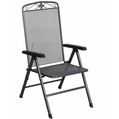 Градински стол - метален, с регулираща се облегалка, сив