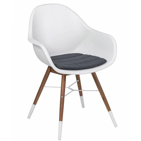 Градински стол - бял, конструкция - евкалиптово дърво