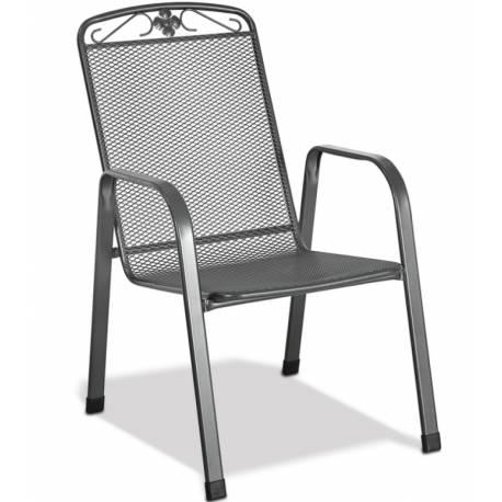 Градински стол - метален, с възможност за стифиране, сив