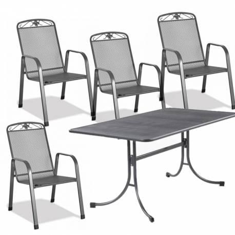 Градински метален комплект маса и 4 стола
