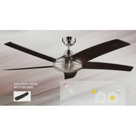 Таванен вентилатор, 131 см - цвят хром/черен, без осветление, с дистанционно